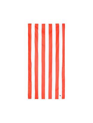 Microvezel strandlaken Cabana, sneldrogend, Microvezels (80% polyester, 20% polyamide), Koraalrood, wit, 90 x 200 cm