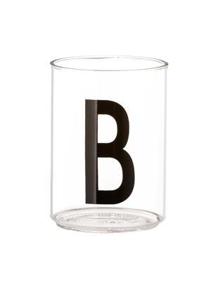Bicchiere acqua Personal (varianti dalla A alla  Z), Vetro borosilicato, Trasparente, nero, Bicchiere per l'acqua B