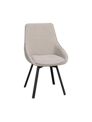 Krzesło obrotowe Alison, Tapicerka: poliester 50 000 cykli w , Nogi: metal malowany proszkowo, Beżowy, czarny, S 51 x G 57 cm