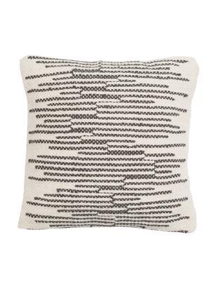 Poszewka na poduszkę Monica, 50% wełna, 25% bawełna, 25% poliester, Kremowobiały, czarny, S 45 x D 45 cm