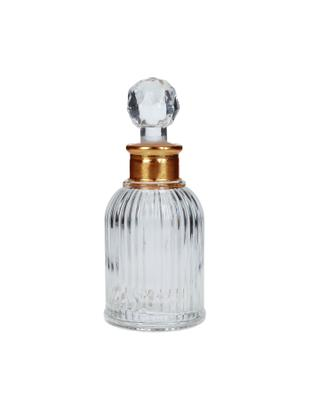 Decoratieve fles Rotira, Gelakt glas, Transparant, goudkleurig, Ø 6 x H 14 cm