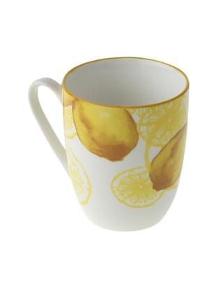 Tassen Lemon, 2 Stück, Porzellan, Weiss, Gelb, Ø 9 x H 10 cm