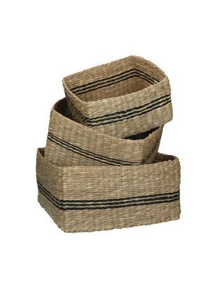 Set 3 cestini in alghe Zazou, Alghe, Beige, nero, Diverse dimensioni