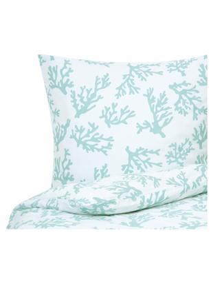 Katoensatijnen dekbedovertrek Cora, Weeftechniek: satijn, licht glanzend, Turquoise, wit, 140 x 200 cm