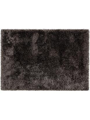 Glänzender Hochflor-Teppich Lea, 50% Polyester, 50% Polypropylen, Anthrazit, B 140 x L 200 cm (Größe S)