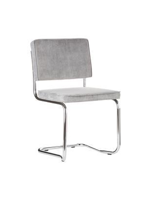Freischwinger Ridge Kink Chair, Bezug: 88% Nylon, 12% Polyester, Gestell: Metall, verchromt Der Bez, Hellgrau, B 48 x T 48 cm