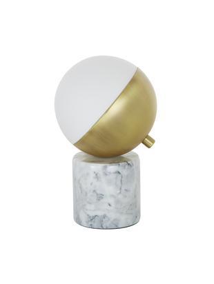 Lampa stołowa z marmuru Svea, Podstawa lampy: jaśniejszy marmur Klosz: biały, odcienie złotego, Ø 15 x W 25 cm