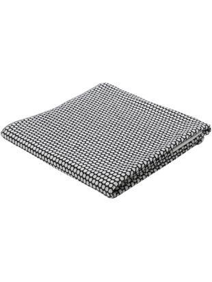 Gestippelde handdoek Grid, Katoen, middelzware kwaliteit, 540 g/m², Zwart, gebroken wit, Douchehanddoek