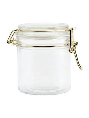 Contenitore in vetro con applicazioni dorate Vario, Vetro, silicone, acciaio inossidabile, Piano d'appoggio: vetro Struttura: dorato lucido, Ø 8 x Alt. 10 cm