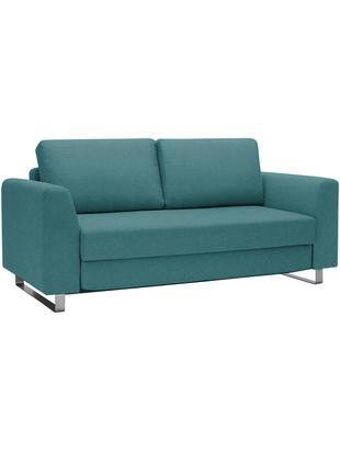 Schlafsofa Bruno (3-Sitzer), Bezug: Pflegeleichtes robustes P, Rahmen: Massivholz, Füße: Gebürstetes Metall oder B, Webstoff Türkis, B 200 x T 84 cm