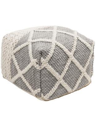 Gebreide poef Anna, Bekleding: 80% wol, 20% katoen, Onderzijde: katoen, Grijs, crèmekleurig, 45 x 30 cm