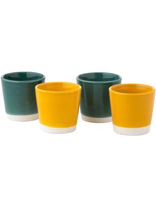 Espressobecher-Set Yen, 4-tlg., Sandstein, Tassen 1 und 2: Weiss, GrünTassen 3 und 4: Weiss, Gelb, Ø 7 x H 6 cm