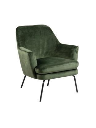 Fotel z aksamitu Chisa, Tapicerka: poliester (aksamit) Tkani, Nogi: metal malowany proszkowo, Zielony leśny, S 58 x G 50 cm