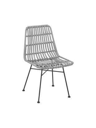 Krzesło Tulum, 2 szt., Stelaż: metal malowany proszkowo, Siedzisko: szary, nakrapiany Stelaż: czarny, matowy, S 47 x G 62 cm