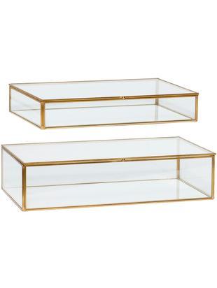 Komplet pudełek do przechowywania Karia, 2 elem., Mosiądz, transparentny, Różne rozmiary