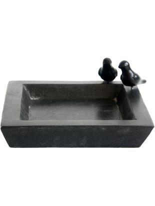 Porta vasca per uccelli Keram, Terrazzo alla veneziana, Nero, Larg. 32 x Alt. 12 cm