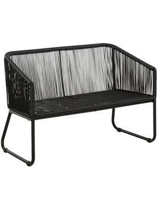 Panca Moa, Seduta: treccia di polietilene, Struttura: metallo verniciato a polv, Nero, Larg. 110 x Alt. 81 cm