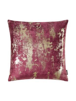 Samt-Kissenhülle Shiny mit schimmerndem Vintage Muster, Polyestersamt, Weinrot, 40 x 40 cm