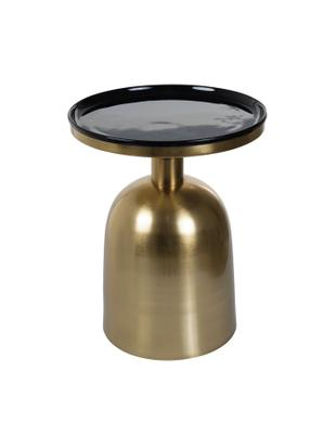 Tavolino rotondo Ikon, Piano d'appoggio: metallo smaltato, Struttura: metallo verniciato, Dorato, nero, Ø 38 x Alt. 46 cm