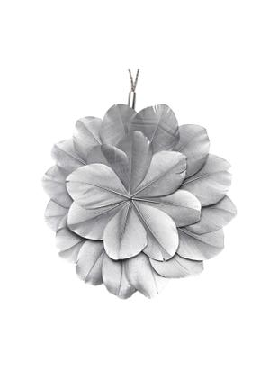 Adornos navideños Juju, 2uds., Flor: plumas teñidas, Ojal: metal, Plateado, marrón, Ø 12 x Fondo 1 cm