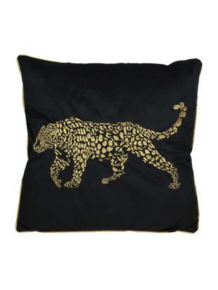 Haftowana poduszka z aksamitu z wypełnieniem Majestic Leopard, Aksamit, Czarny, odcienie złotego, S 45 x D 45 cm