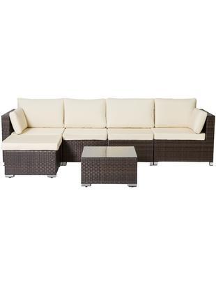 Set lounge de exterior Sunset, 6pzas., Estructura: ratán sintético, Marrón, crudo, Tamaños diferentes