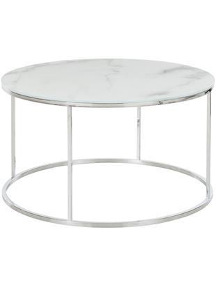 Salontafel Antigua met glazen tafelblad met marmerlook, Tafelblad: glas, mat bedrukt, Frame: staal, verchroomd, Wit-grijs gemarmerd, zilverkleurig, Ø 78 x H 44 cm