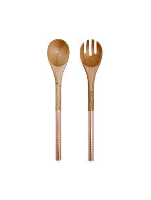 Komplet sztućców do sałatek z drewna akacjowego Oasis, 2 elem., Miedź, drewno naturalne, D 37 cm