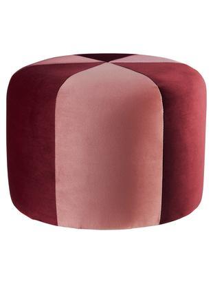 Puf z aksamitu dla dzieci Barcelona, Tapicerka: aksamit poliestrowy, Stelaż: drewno naturalne, Czerwony, blady różowy, Ø 40 x W 28 cm