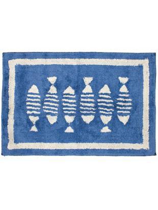 Badmat Summa, Katoen, Blauw, wit, 60 x 90 cm