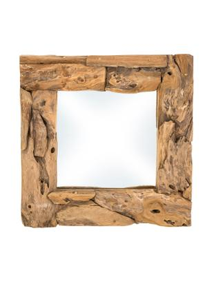 Specchio con cornice in teak Noah, Cornice: legno di teak, Teak, Larg. 50 x Alt. 50 cm