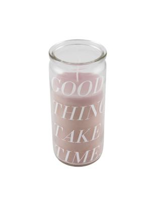 Kerze Good Things, Glas, Wachs, Transparent, Rosa, Ø 6 x H 14 cm