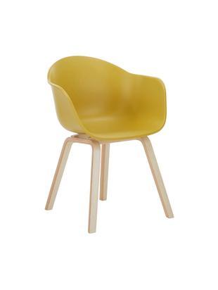 Kunststoff-Armlehnstuhl Claire mit Holzbeinen, Sitzschale: Kunststoff, Beine: Buchenholz, Kunststoff Gelb, B 61 x T 58 cm