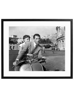 Oprawiony druk cyfrowy Roman Holiday with Peck and Hepburn, Ilustracja: czarny, biały Rama: czarny, S 50 x W 40 cm