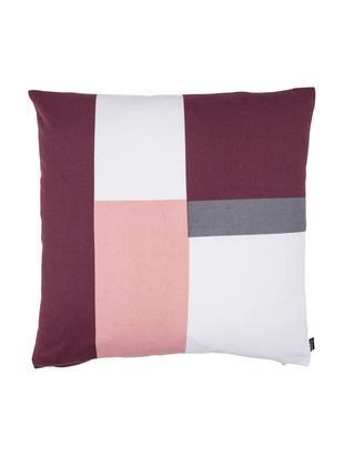 Dwustronna poduszka Cubo, Tapicerka: bawełna, Wiśniowy, blady różowy, biały, szary, S 50 x D 50 cm