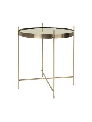 Tablett-Tisch Cupid mit Glasplatte, Gestell: Metall, pulverbeschichtet, Tischplatte: Spiegelglas, lackiert, Goldfarben, Ø 43 x H 45 cm