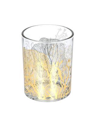 Portavelas Jules, Vidrio, Transparente, dorado, Ø 10 x Al 13 cm