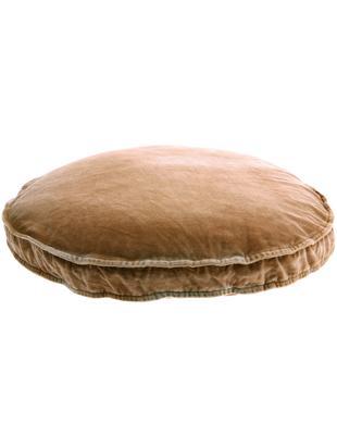 Groot fluwelen zitkussen Runda, Bovenzijde: katoenfluweel, Onderzijde: katoen, Oudroze, Ø 60 x H 6 cm