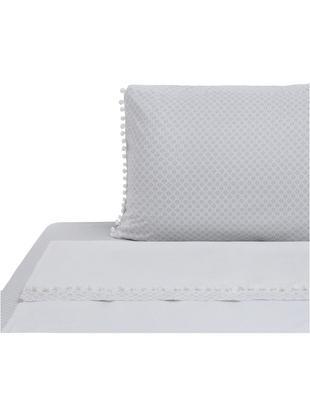 Completo letto renforcé Pom Pon, Tessuto: Renforcé, Bianco, grigio chiaro, 150 x 290 cm
