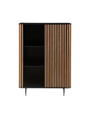 Credenza di design con finitura in quercia Linea, Piedini: metallo verniciato, Nero, legno di quercia, Larg. 98 x Alt. 135 cm