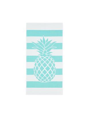 Gestreiftes Strandtuch Asan mit Ananas-Motiv, Baumwolle leichte Qualität 380 g/m², Türkis, Weiss, 80 x 160 cm