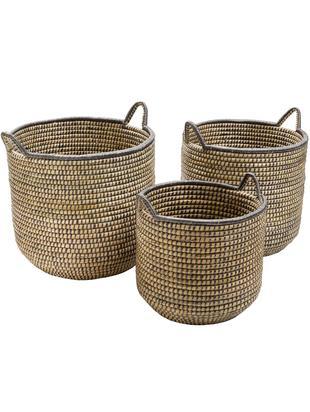 Set de cestas Stormy, Algas marinas, Beige, negro, Tamaños diferentes