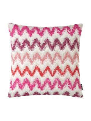 Federa arredo con motivo a zigzag Pari, Poliestere, Beige chiaro, tonalità rosa, Larg. 45 x Lung. 45 cm