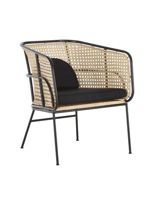 Sedia con braccioli in rattan Merete, Seduta: rattan, Struttura: metallo, verniciato a pol, Seduta: rattan Struttura: nero opaco Fodere: nero, Larg. 72 x Prof. 74 cm