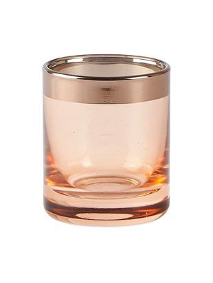 Świecznik Orient, Szkło, Świecznik: różowy, transparentny Krawędź: odcienie miedzi, Ø 6 x W 7 cm