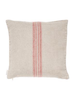 Poszewka na poduszkę z lnu Jara, Beżowy, czerwony, S 40 x D 40 cm