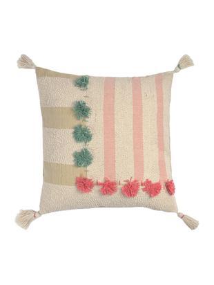 Kissenhülle Vals mit Tasseln, Baumwolle, Mehrfarbig, 45 x 45 cm
