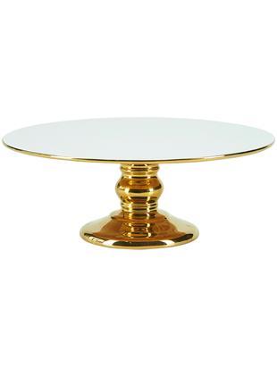 Fuente para postre Tarta, Cerámica, Blanco, dorado, Ø 26 x Al 10 cm