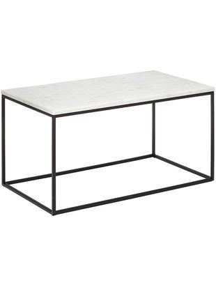 Marmor-Couchtisch Alys, Tischplatte: Marmor, Gestell: Metall, pulverbeschichtet, Tischplatte: Weiß-grauer MarmorGestell: Schwarz, matt, 80 x 45 cm