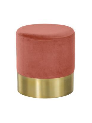 Fluwelen poef Harlow, Bekleding: katoen fluweel, Voet: gepoedercoat metaal, Koraalrood, goudkleurig, Ø 38 x H 42 cm